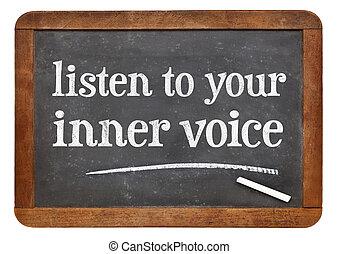 escuchar, voz, interior, su