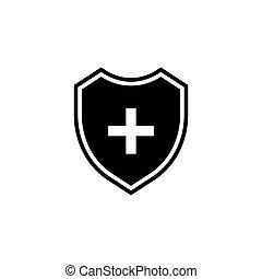 escudo, ícone, crucifixos, médico