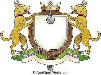 escudo, agasalho, heraldic, braços, cão, animais estimação