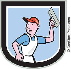escudo, alvenaria, trabalhador, plasterer, caricatura