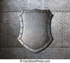 escudo, armadura, sobre, metal, fundo, pratos