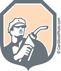 escudo, bocal, bomba gasolina, retro, combustível, assistente