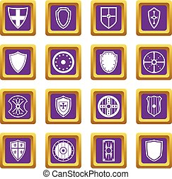 escudo, bordas, ícones, jogo, roxo