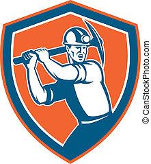 escudo, brandindo, pico, mineiro, carvão, retro, machado