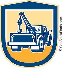 escudo, caminhão reboque, retro, wrecker, parte traseira