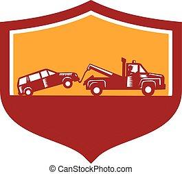 escudo, car, caminhão reboque, retro, reboque