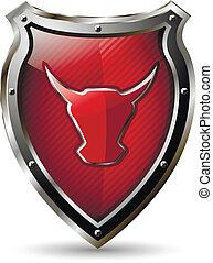 escudo, com, a, vermelho, touro