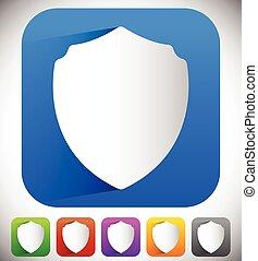 escudo, concept., proteção, forma, defesa, vector.