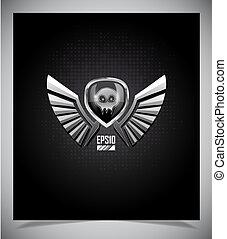 escudo, cranio, asas