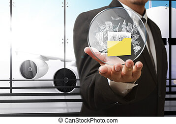 escudo, curso negócio, mão, aeroporto, mostra, homem