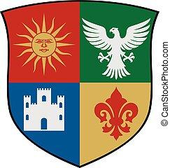 escudo de armas, vector, ilustración