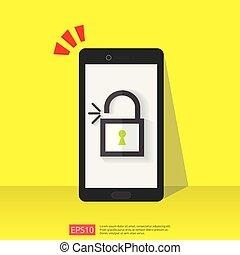 escudo, destranque, aviso, abertos, seguro, pessoal, marca, acesso, internet, atenção, cofre, screen., ilustração, alerta, telefone, usuário, vpn, padlock, móvel, protection., vetorial, icon., autorização