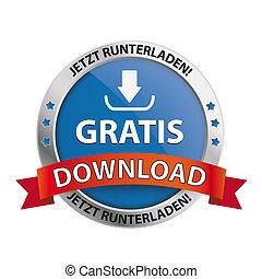 escudo, download, botão, gratis
