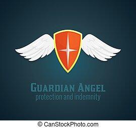 escudo, e, asas, ícone