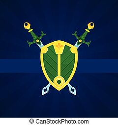 escudo, e, espadas, impressão, cartaz