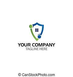 escudo, e, house., proteção, escudo, conceito
