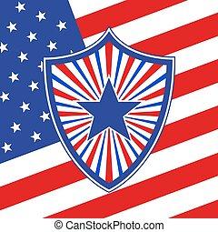 escudo, em, bandeira americana, style., vetorial, ilustração