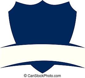 escudo, emblema, modelo, em branco