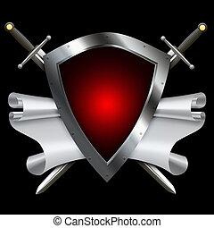 escudo, espadas, scroll, parchment., prata, vermelho, medieval
