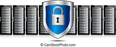 escudo, fechadura, servidores, protetor