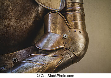 escudo, feito, medieval, armadura, metal, ferro, forjado