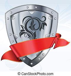 escudo, fita vermelha, aço