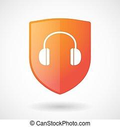 escudo, fones ouvido, ícone