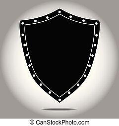 escudo, forma, pretas, ícone
