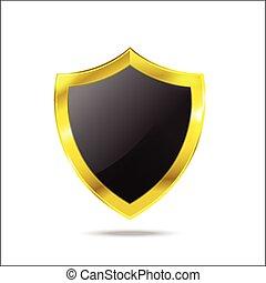 escudo, glod, proteção, fundo, branca, vazio
