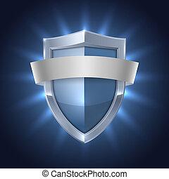 escudo, glowing, segurança, em branco, emblema, fita