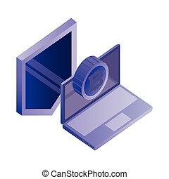 escudo, laptop, bitcoin, proteção, dados, rede