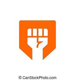 escudo, liberdade, -, revolta, símbolo, vetorial, desenho, rebelde, punho, ou, logotipo, ícone
