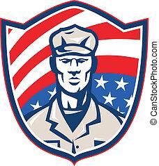 escudo, listras, soldado, americano, retro, estrelas