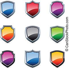 escudo, lustroso, ícones