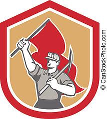 escudo, machado, mineiro, carvão, bandeira, pico, hardhat