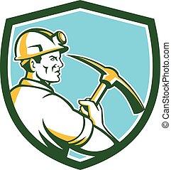 escudo, machado, mineiro, carvão, retro, pico, hardhat, lado