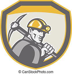 escudo, machado, mineiro, carvão, retro, segurando, pico, hardhat