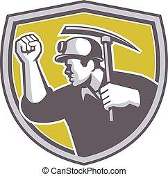escudo, machado, mineiro, clenched, carvão, retro, punho, pico