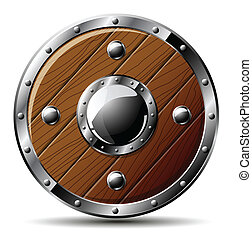 escudo, madeira, -, isolado, branca, redondo