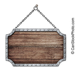 escudo, madeira, isolado, sinal, penduradas, branca, correntes, ou, estrada