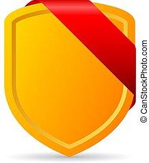 escudo, ouro, vetorial, fita vermelha, ícone