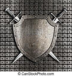 escudo, parede, metal, espadas, dois, cruzado, penduradas,...