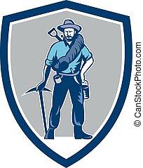escudo, pico, mineiro, carvão, retro, machado, frontpack