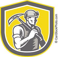 escudo, pico, mineiro, carvão, retro, machado