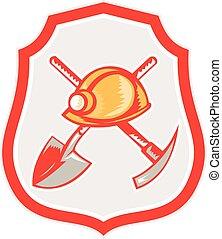 escudo, pico, mineiro, retro, machado, hardhat, pá
