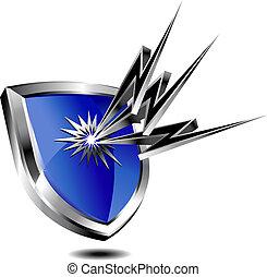 escudo, proteção, com, por, relampago