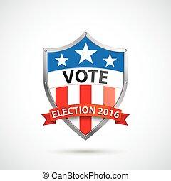 escudo, proteção, eleição, voto, 2016, fita