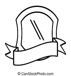 escudo, proteção, emblema, esboço, vazio