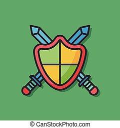escudo, proteção, vetorial, ícone