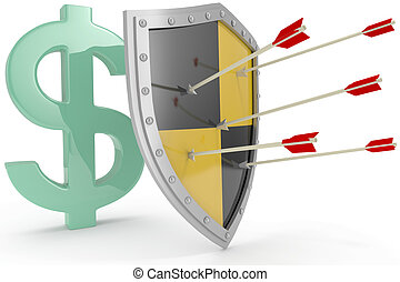 escudo, proteja, cofre, dólar eua, dinheiro, segurança